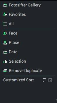 Fotosifter left-side menu
