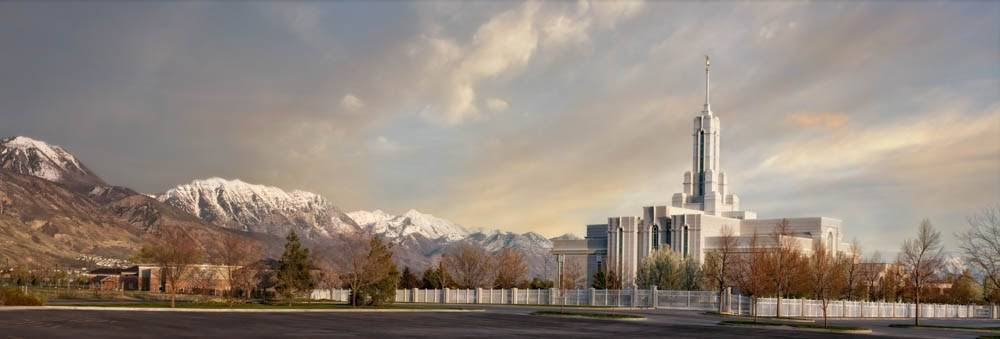 LDS art panoramic photo of Mt Timpanogos Temple and surrounding mountains.