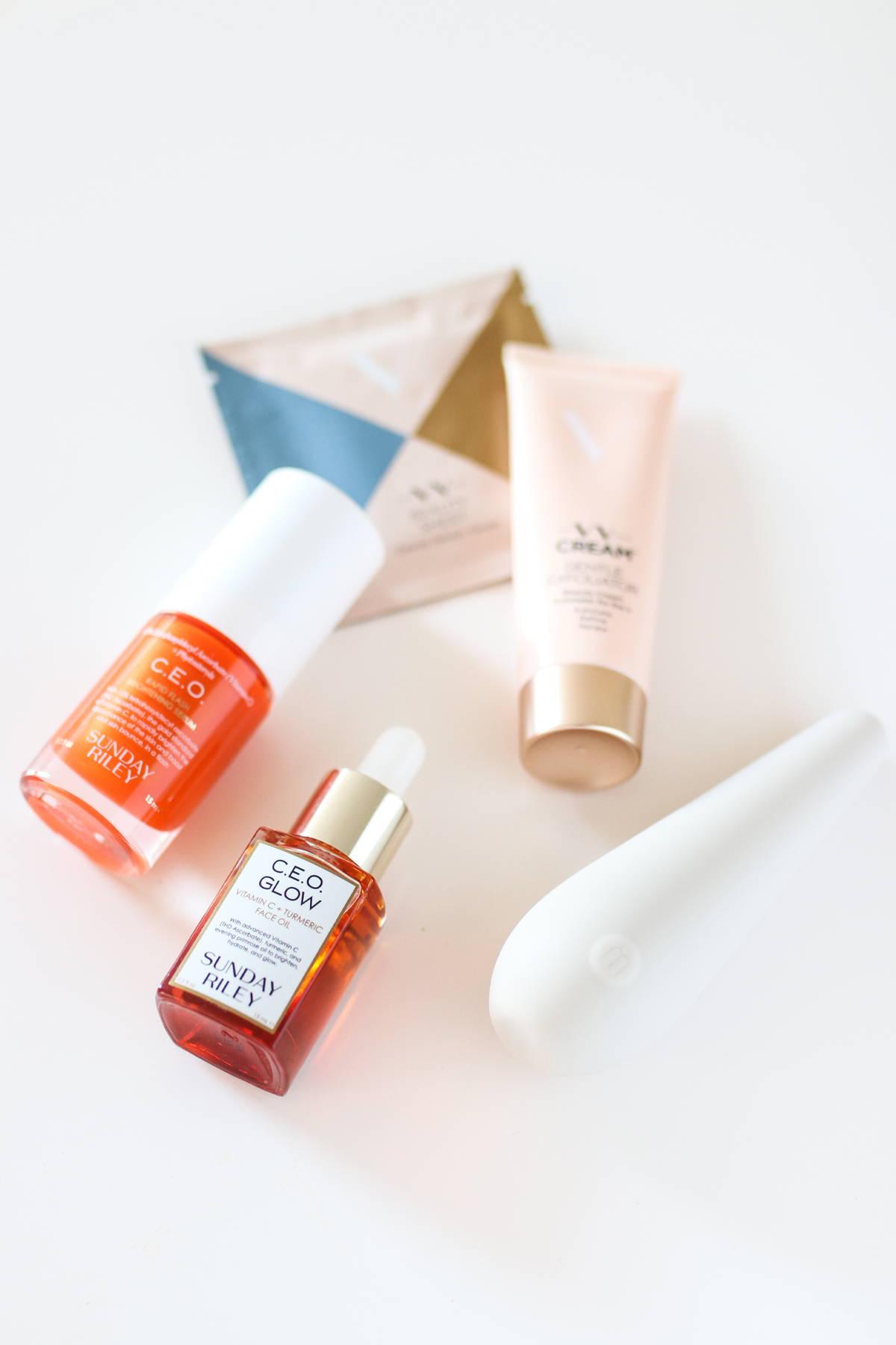 The Love Box assorted items, C.E.O. Glow, C.E.O. Brightening Serum, Maude Vibe,  The Perfect V Cream and VV Beauty Sheet