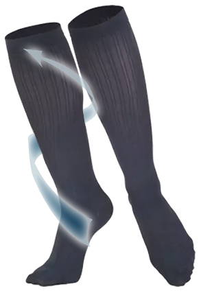 Ladies' Knee High Rib Pattern Socks With Arrow Travelling Up Leg