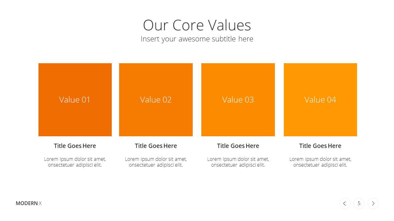 Modern X Presentation Template Business Plan Core Values