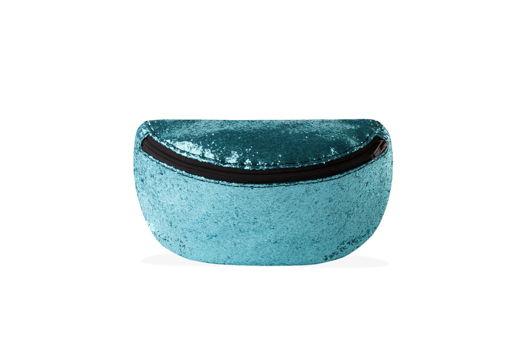 Сумка на пояс голубая яркая с крупными блестками