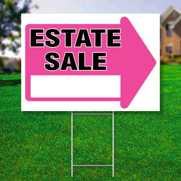 "18"" x 24"" yard sign with pink arrow saying ' Estate Sale'"