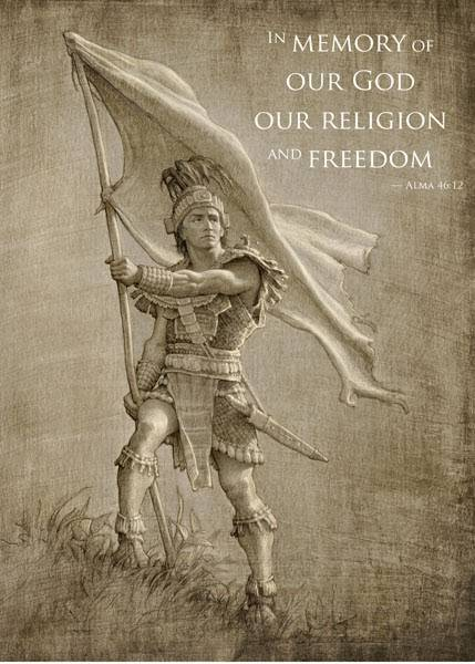 "LDS art poster of Captain Moroni holding the Title of Liberty. The text reads: ""In memory of our God, our religion and freedom. - Alma 46:12"""