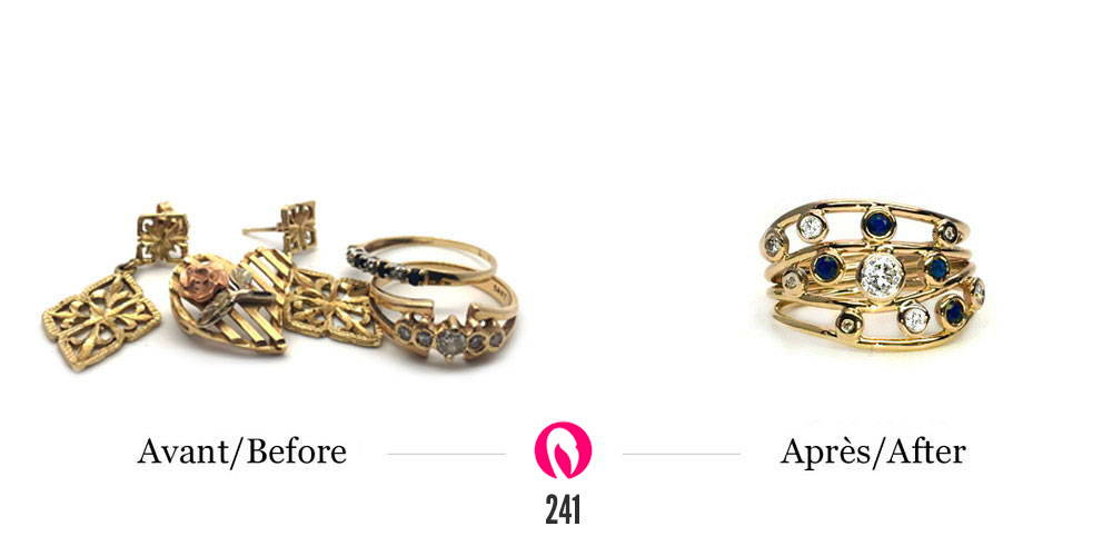 Plusieurs bijoux d'héritage transformés en une bague multi-rangs en or jaune avec saphirs et diamants