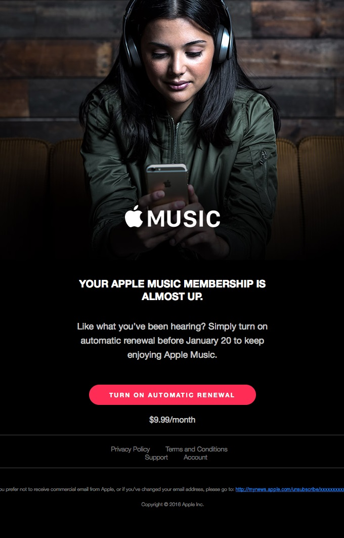 Apple Music lets subscribers know they're running out of time to listen.