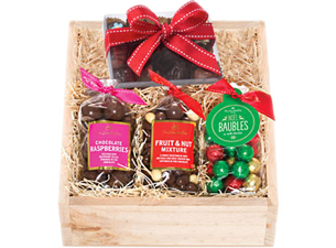 The Christmas Crate, chocolates in a smooth pine crate