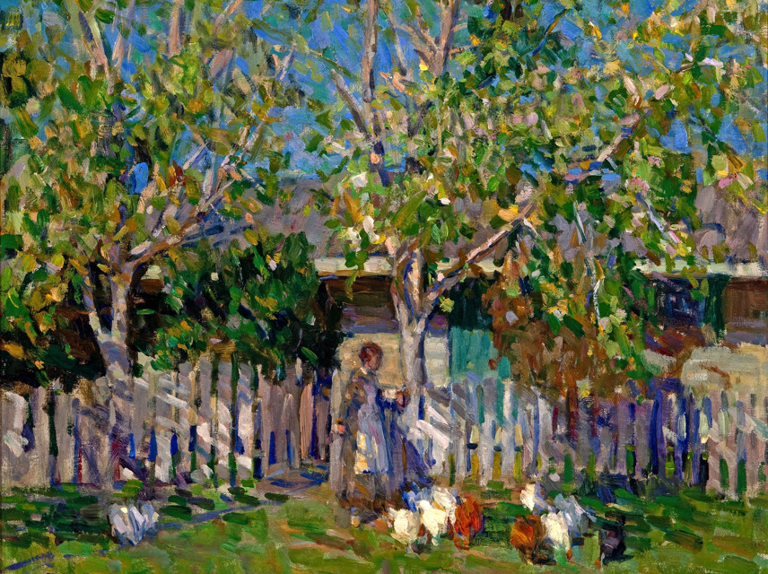 E. Charlton Fortune (American, 1886–1969)Feeding Chickens, Monterey, 1918 Oil on canvas 28 x 26 inches Crocker Art Museum, Melza and Ted Barr Collection, 2010.9