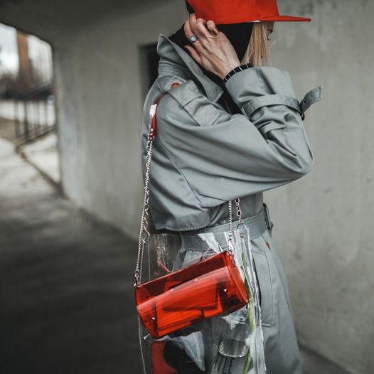 ✖️GVOZDEVA ✖️cylinder bag / red - Прозрачная красная сумка