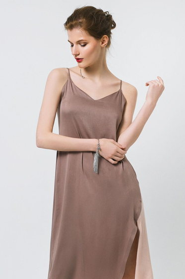 Платье комбинация капучино