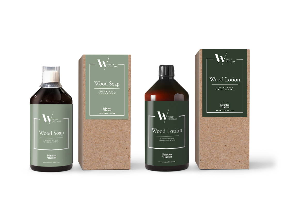 Image of Wood Wellness Wood Soap and Wood Lotion standing side by side
