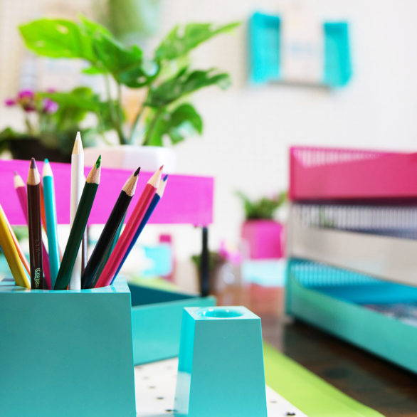 plant-based business products and office desk accessories, pencil holder, file trays, brightly colored, based in Canada