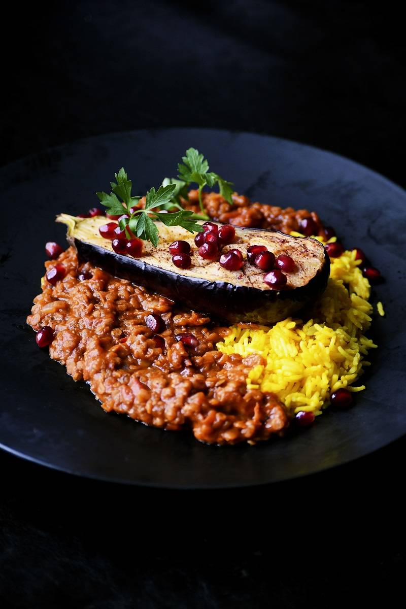 Persian aubergine with lentil stew