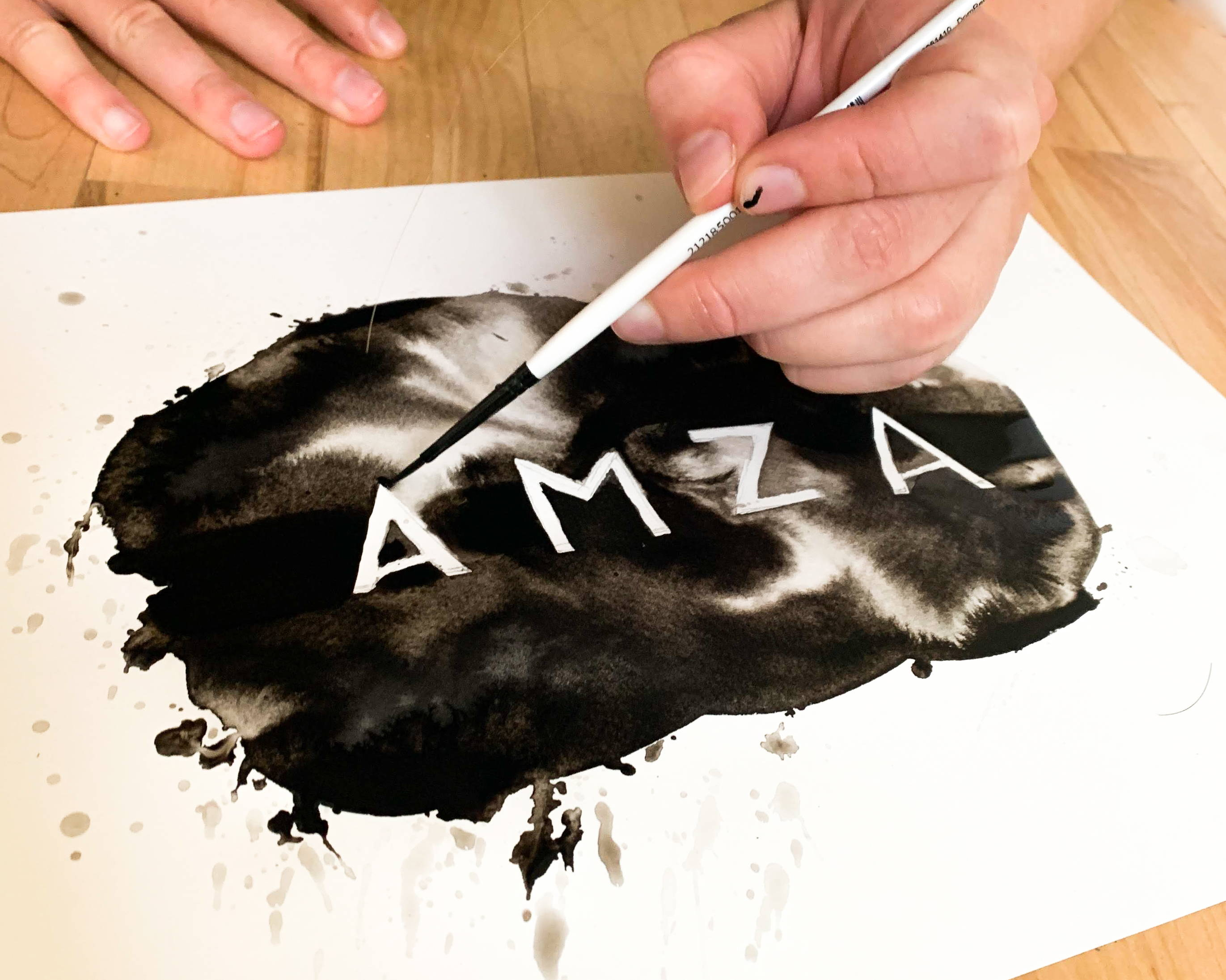 Ink paint of a logo