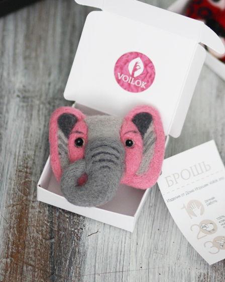 Брошь Слон ручной работы