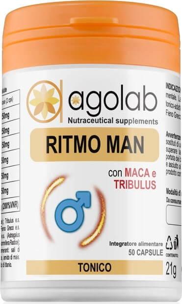 RitmoMan Testobooster Naturale Tonico Adattogeno maschile uomo integratore alimentare over 40 agolab nutraceutica per uomini maschile