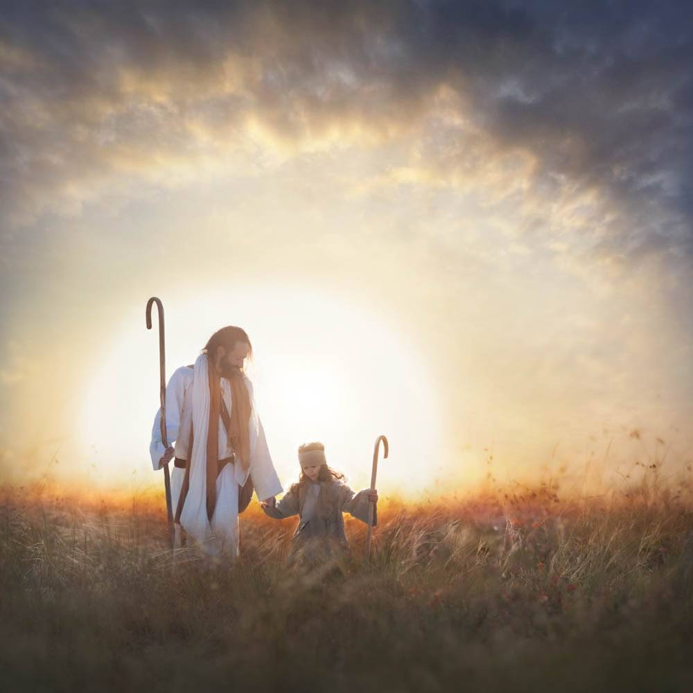 LDS art painting of Christ, the good shepherd, leading a child shepherd by the hand through a field.
