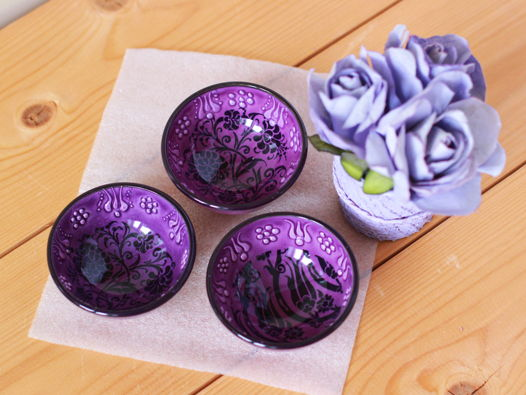 Набор фиолетовых керамических соусниц (3 шт)