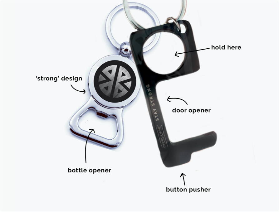 Black no touch keychain tool with a bottle opener, and tool is a door opener and pushes buttons
