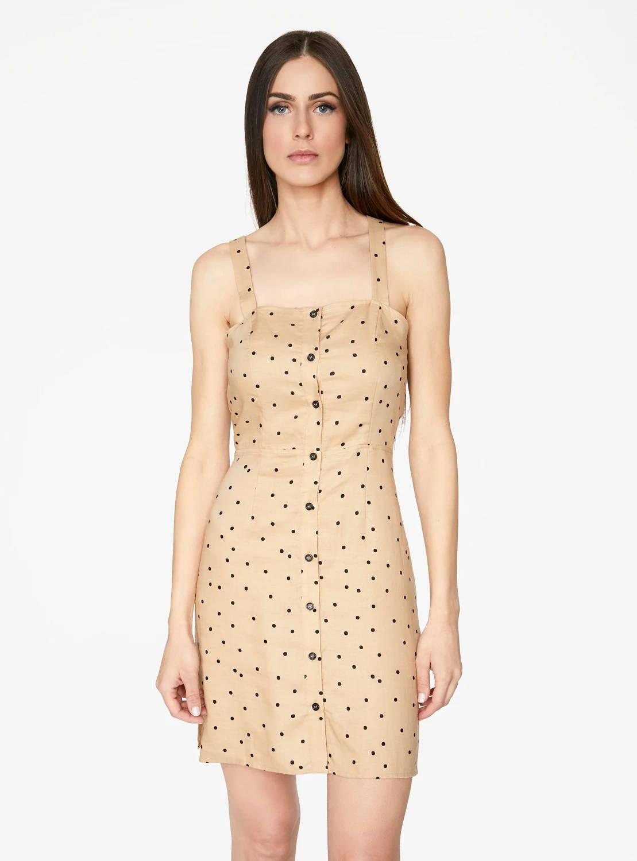 Mini Button Up Dress in Peach Polka Dot