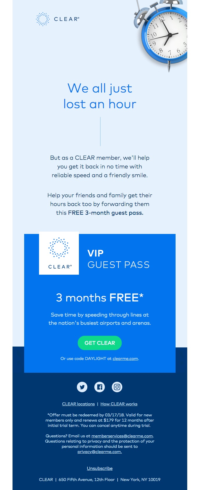 CLEAR's email example from its drip email marketing campaign