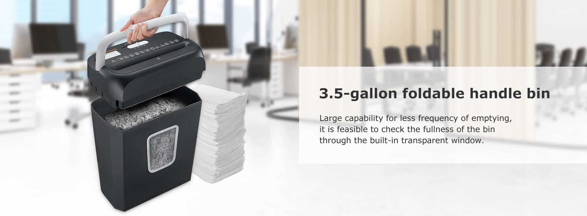 3.5-gallon foldable handle bin Large capability for less frequency of emptying, it is feasible to check the fullness of the bin through the built-in transparent window.