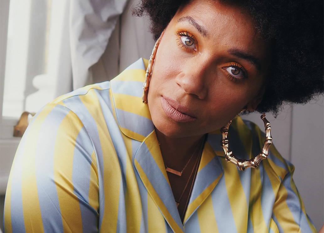 Natalie Lee, of Style Me Sunday,  wears YOLKE Citrine Stripe Classic Silk Pyjamas