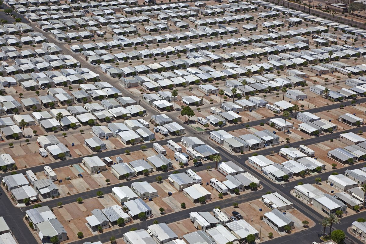a large amount of mobile homes
