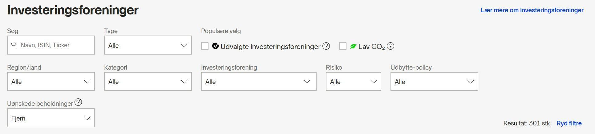 Søgemaskinen man kan bruge til at finde investeringsforeninger med på Nordnet