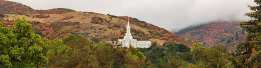 Panoramic photo of the Bountiful Temple on a hillside.