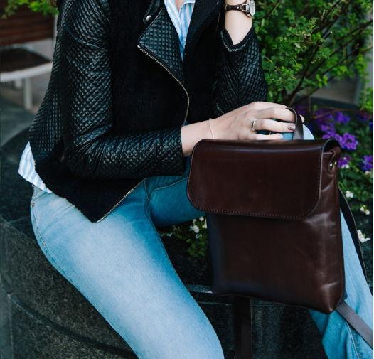 Кожаный коричневы женский рюкзак City mini brown