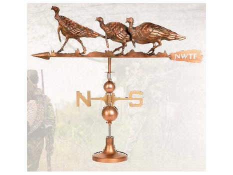 Three Walking Turkey Copper Finish Weathervane