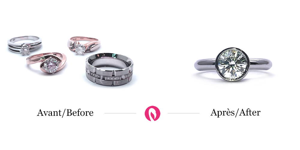 Transformation of various rings with or without diamonds into a solitaire in closed setting and white gold
