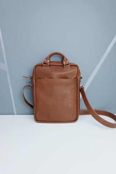 Коричневая сумка «Планшет» из натуральной кожи
