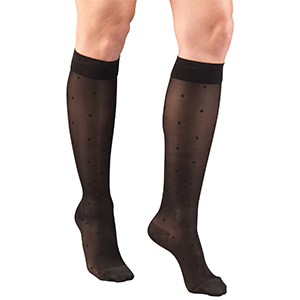 Ladies' Knee High Dot Pattern Sheer Stockings in Black