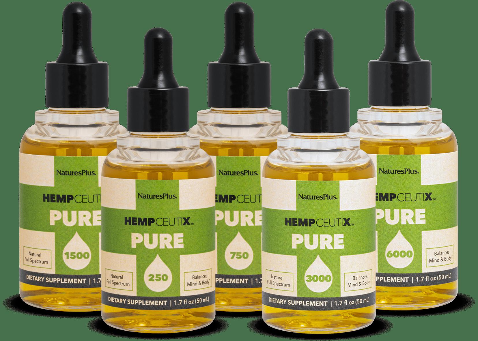 image of all pure cbd oils strengths