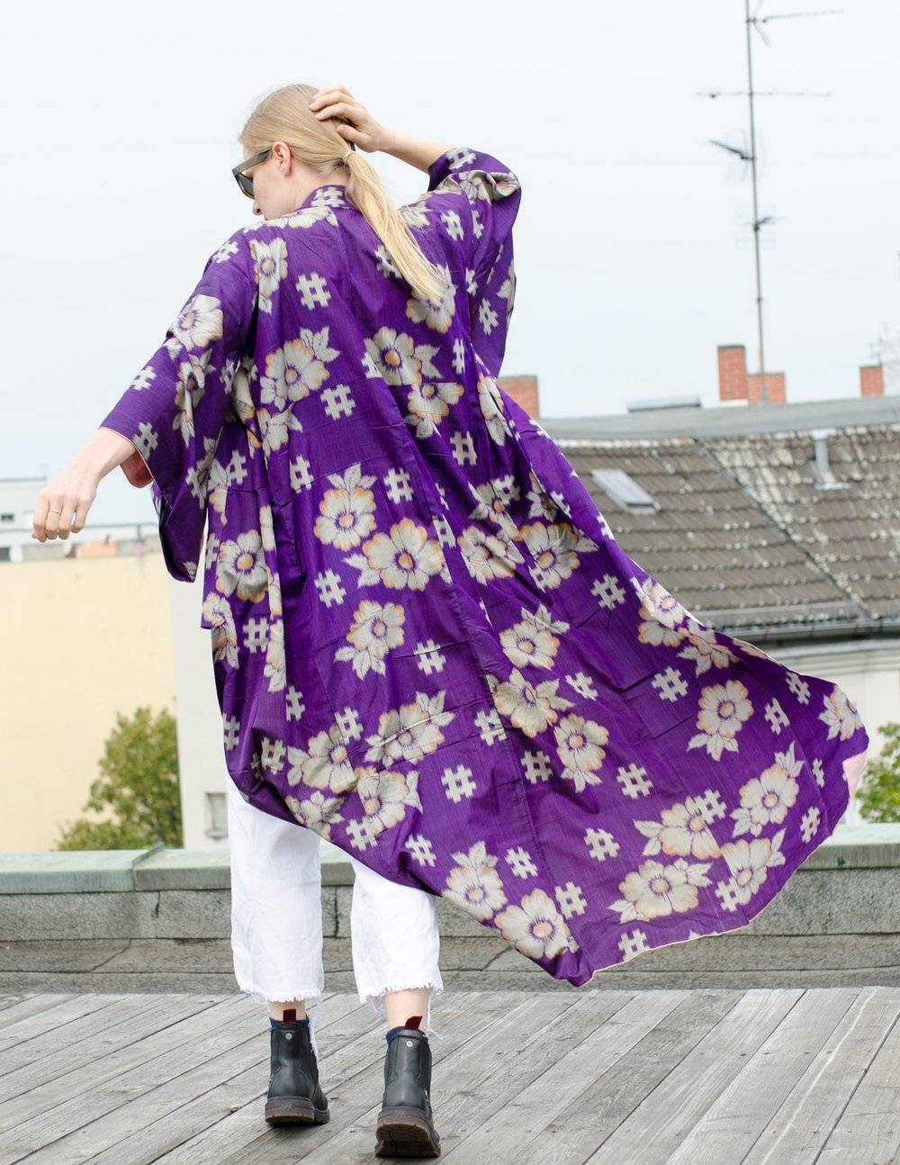 dancing with joy in purple vintage meisen kimono