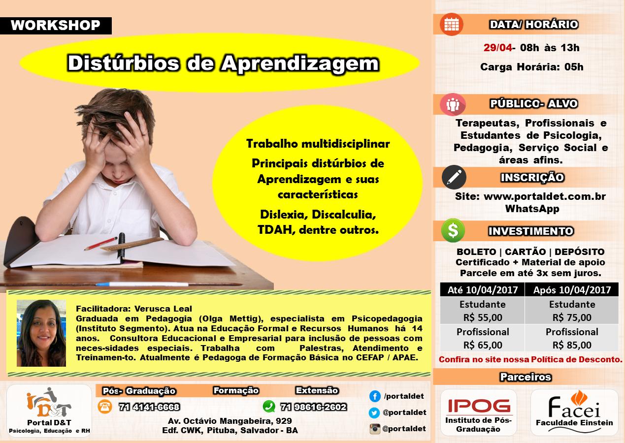 WORKSHOP: Distúrbios de Aprendizagem