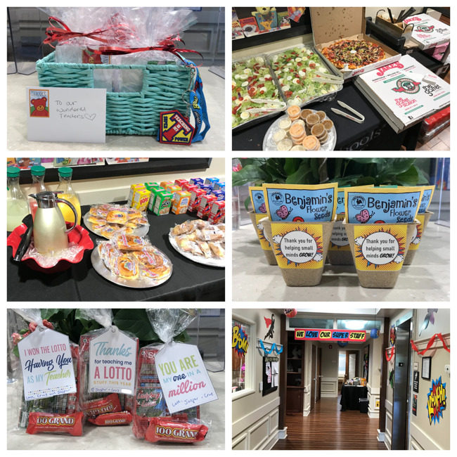 collage of food, snacks, and presents given to teachers by students, parents, and the leadership team