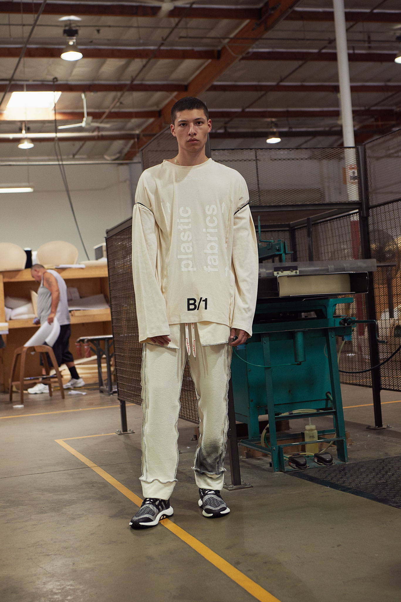 A Cold Wall reversed construction pants and long sleeve tee-HLorenzo- Y-3 pureboosts