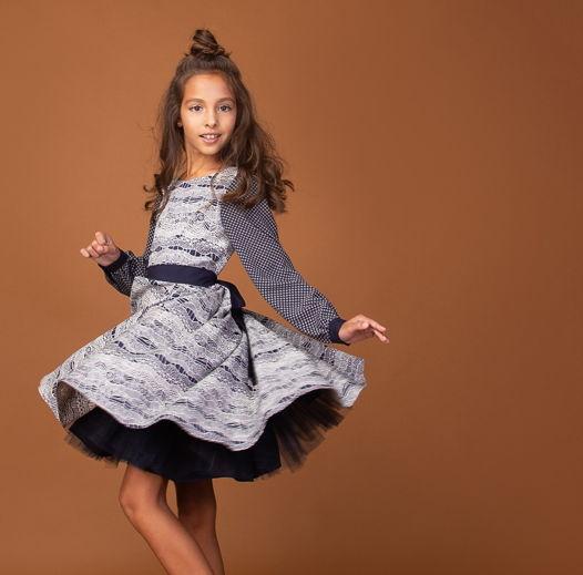 """Коктейльное платье из жаккарда """"Deep Blue"""""""