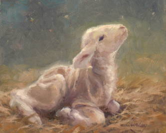 Painting of a lamb looking up into a starry sky.