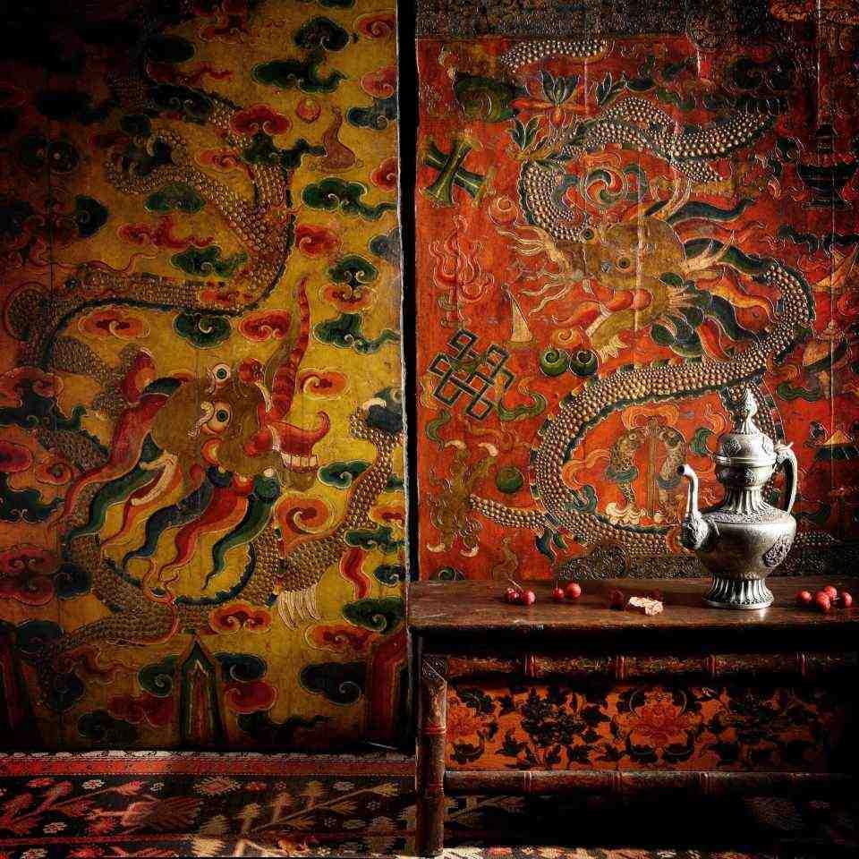 Shop Antique Painted Tibetan Antiques & Antique Furniture - Tibetan painted altar cabinets, prayer tables & Tibetan chests & boxes | Indigo Antiques