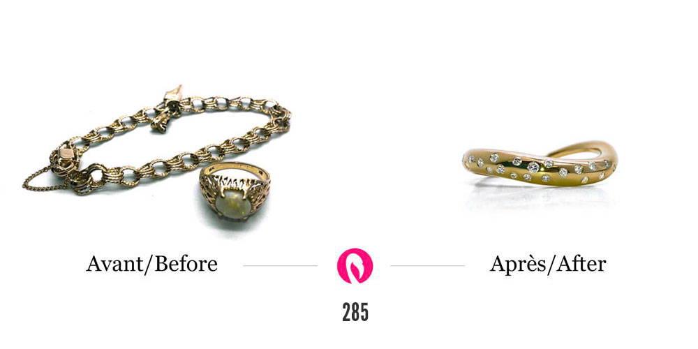 Transformation d'un bracelet et d'une vieille bague large avec pierres et diamants en une bague moderne courbée avec diamants sertis autour