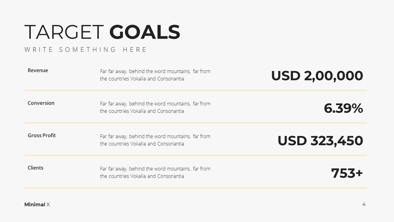 Minimal X Consulting Firm Proposal Presentation Template Target Goals