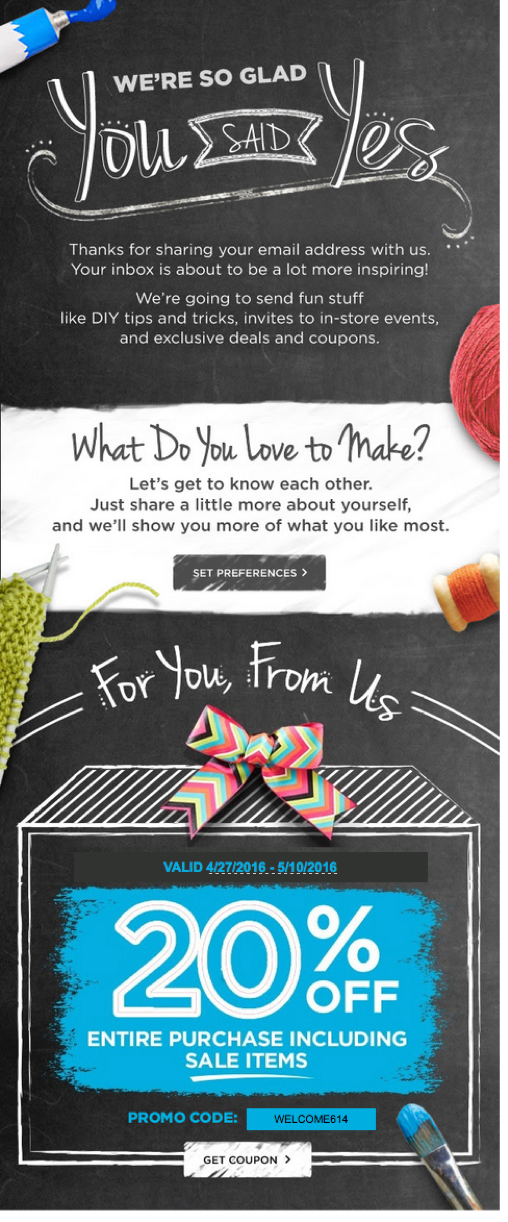 best Email marketing campaigns - michael's email example
