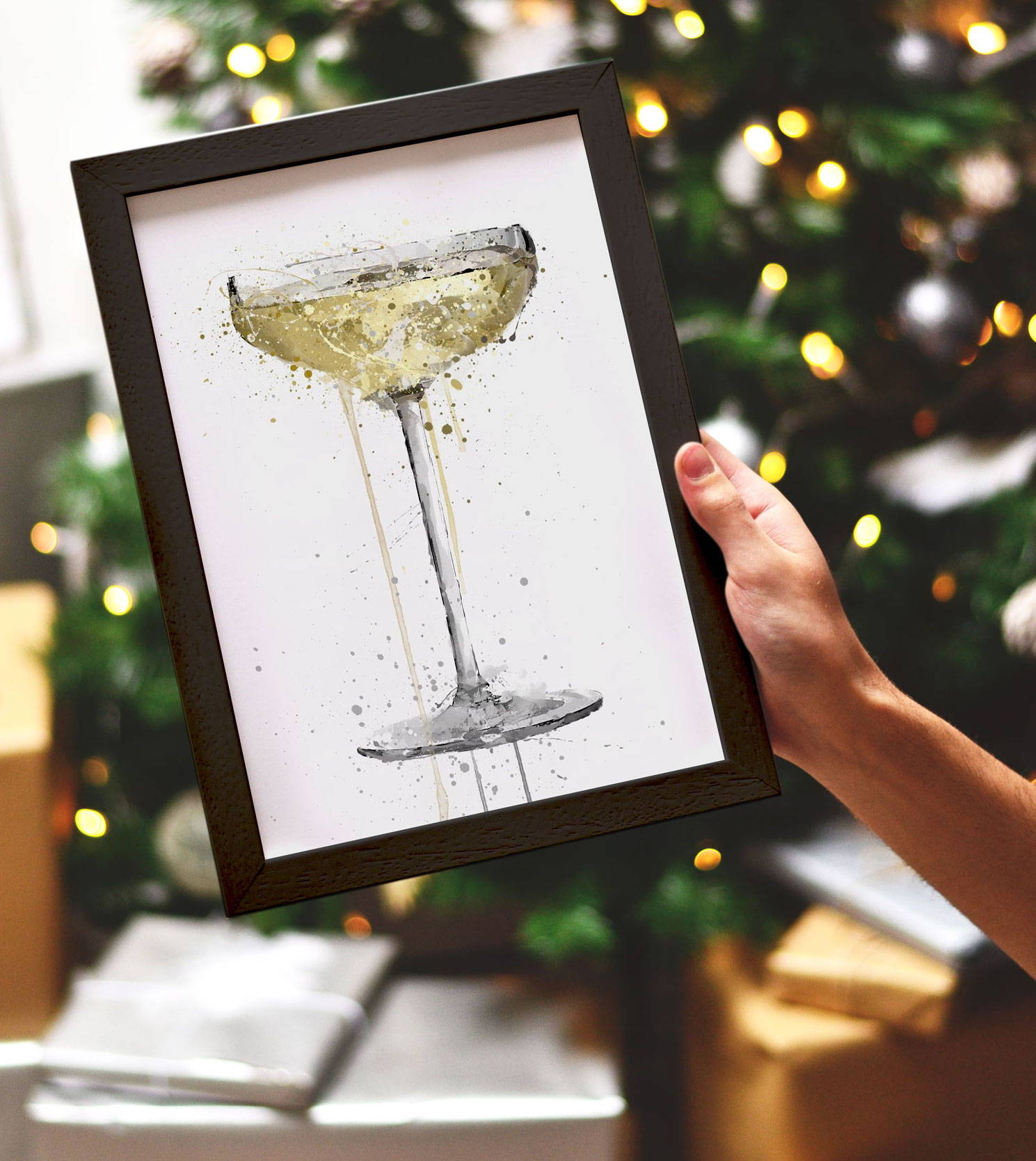 Christmas Gifts For Him Champagne Coupe Wall Art Print