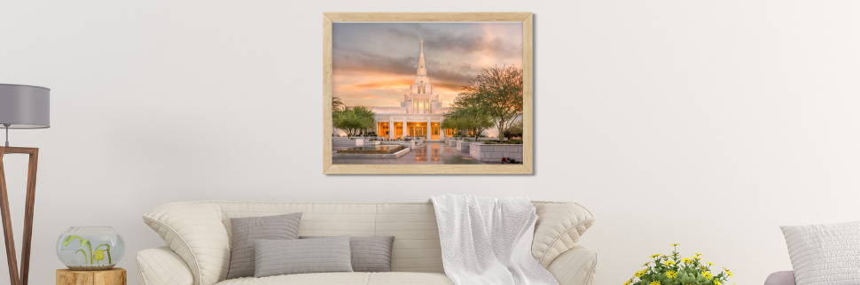 Environment photo of a Phoenix Arizona temple picture over a sofa.