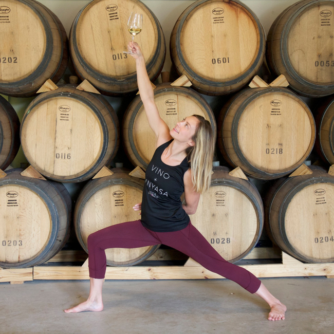 Picture of Socially-distanced yoga outside next to the vines: Merry Merlot Edition