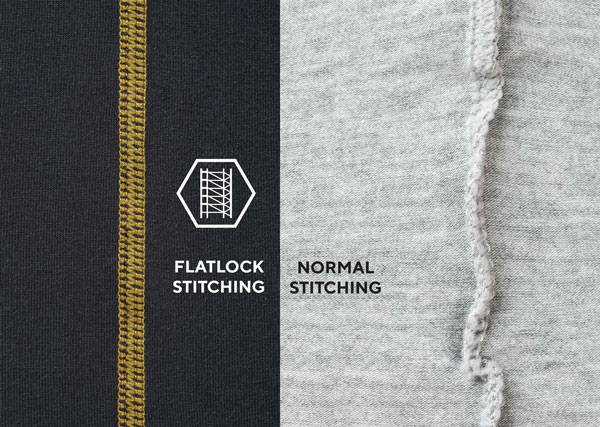 comparison of flatlock stitching and normal stitching